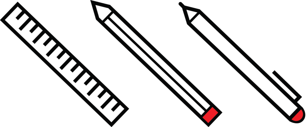 ruler pencil and pen